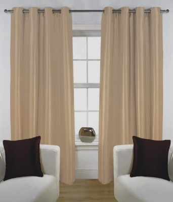 Fabutex Polyester Brown Solid Eyelet Door Curtain
