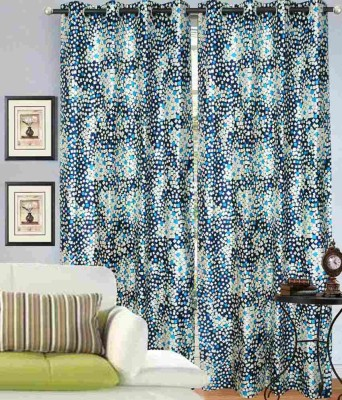 Madhav Product Polyester Blue Floral Eyelet Door Curtain