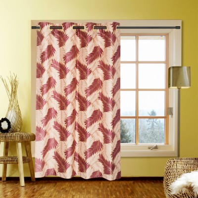 Handloom Factory Polycotton Red Floral Eyelet Window Curtain