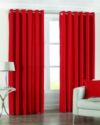 The Decor Store Polyester Red Plain Eyelet Window Curtain