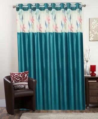 I-LivSmart Polyester Royal Skyblue Plain Curtain Long Door Curtain