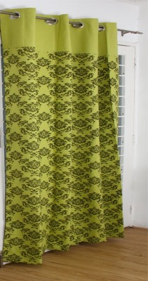 Thuhil Home Linen Cotton Green Printed Eyelet Door Curtain