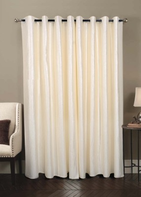 Jds Polyester Cream Plain Ring Rod Door Curtain
