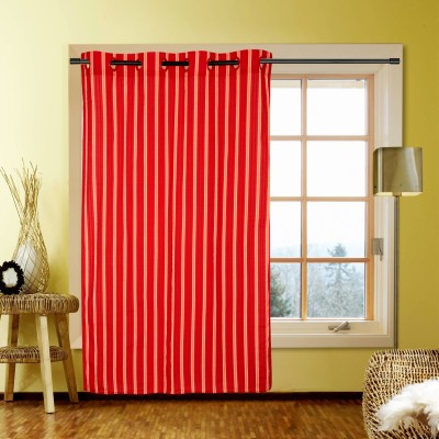 Kings Polycotton Red Striped Eyelet Window Curtain