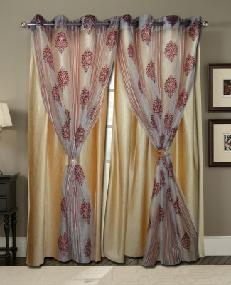 Zigma Collections Polyester, Tissue Gold Embroidered Eyelet Door Curtain