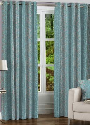 NuHome Decor Polyester Turqouise Self Design Eyelet Long Door Curtain
