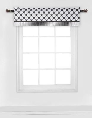 Bacati Cotton White, Black Striped Curtain Window Curtain
