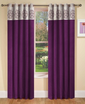 Abhi Decor Polyester Purple Embroidered Curtain Window Curtain