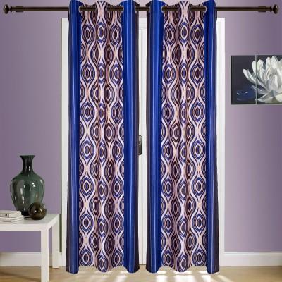 SWHF Blends Dark Blue Printed Eyelet Window & Door Curtain