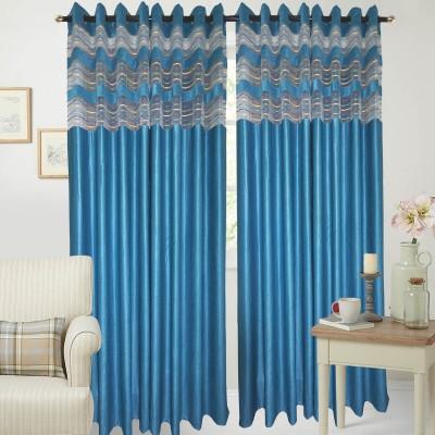 Rayon Casa Polyester Turqoise Plain Eyelet Door Curtain