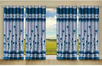 New Trends Polyester Light Blue Printed Eyelet Long Door Curtain