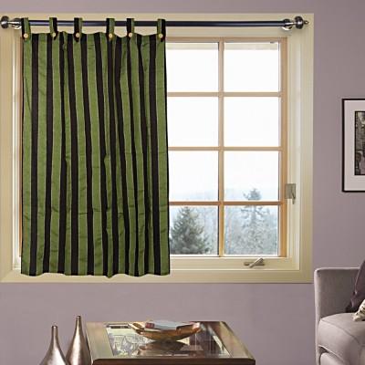 Handloom Factory Cotton Green, Black Striped Tab Top Window Curtain