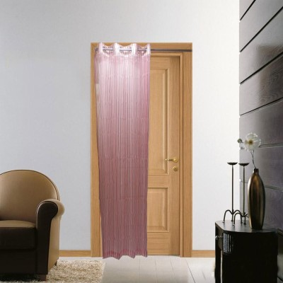 Furnishing Centre Polyester Pink Striped Eyelet Door Curtain