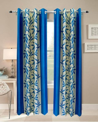 Handy Texty Polyester Blue Printed Eyelet Window Curtain