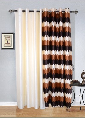 Jds Polyester Cream, Brown Striped Ring Rod Door Curtain