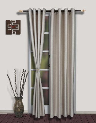 S9home by Seasons Polyester Grey Solid Eyelet Door Curtain