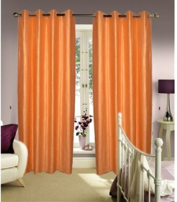 Home And Craft Polyester Peach Floral Eyelet Door Curtain