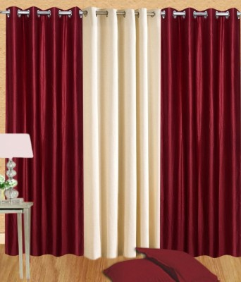 White Wave Polyester Maroon Solid Tab Top Door Curtain