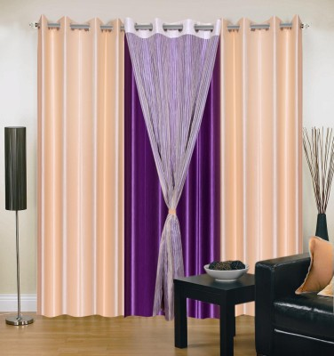 Shopgrab Polyester Beige Solid Eyelet Door Curtain