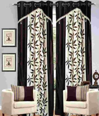 RK Home Furnishing Polycotton Coffee Plain Eyelet Window Curtain