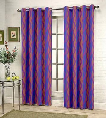 Kings Polycotton Purple Geometric Eyelet Door Curtain