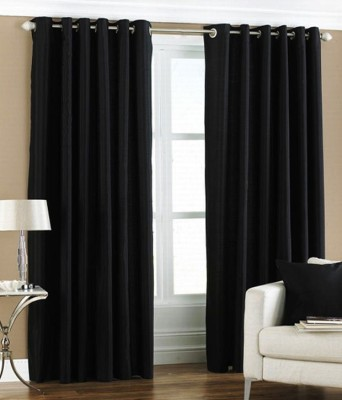 Chaitnya Handloom Polyester Black Plain Eyelet Door Curtain