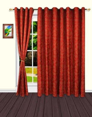 S9home by Seasons Polyester Red Floral Eyelet Door Curtain