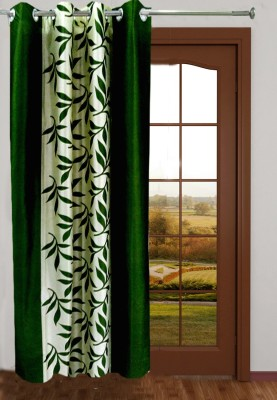 Homefab India Polyester Green Floral Eyelet Long Door Curtain