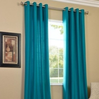 Handy Texty Polyester Blue Plain Eyelet Window Curtain