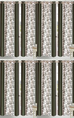Shopgalore Polyester Green Floral Eyelet Window Curtain