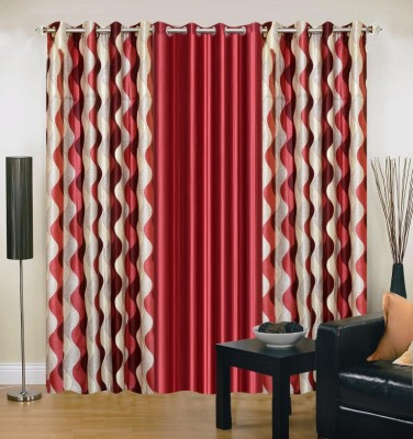 Excel Bazaar Polyester Multicolor Abstract Eyelet Door Curtain