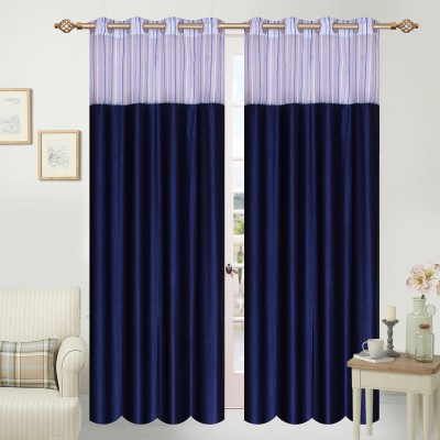 Azaani Polyester Multicolor Solid Eyelet Door Curtain