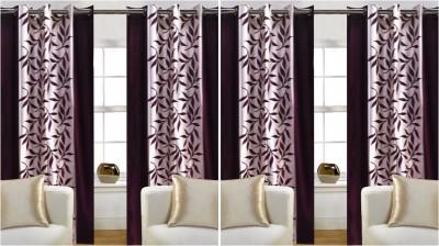 Trendz Home Furnishing Polycotton Brown Printed Eyelet Window Curtain