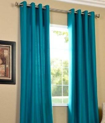 Z Decor Polyester Blue Plain Eyelet Window Curtain