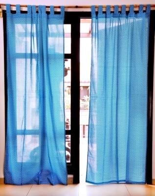 Ocean Homestore Cotton Blue Self Design Eyelet Window Curtain
