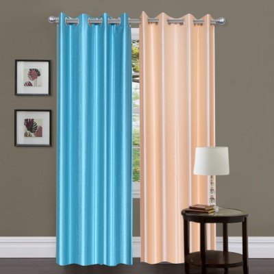 Dreamshomes Polyester Blue, Beige Solid Eyelet Door Curtain