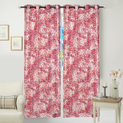 Jars Collections Polyester Maroon Floral Eyelet Door Curtain
