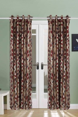The Handloom Store Polycotton Maroon Floral Eyelet Door Curtain