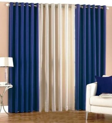 shivamconcepts Polyester Blue, Cream, Blue Plain Eyelet Door Curtain