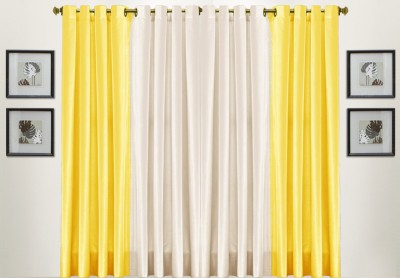 Thiwas Polyester Yellow, Cream Solid Eyelet Door Curtain