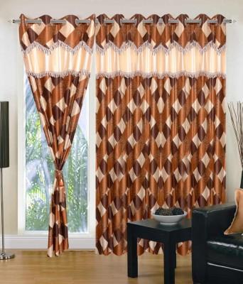JTInternational Polyester Brown Solid Eyelet Door Curtain