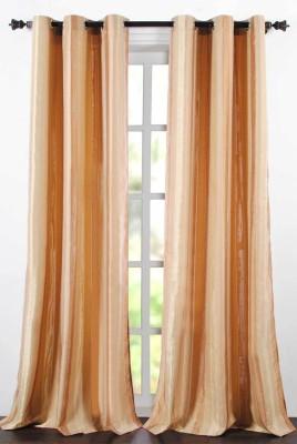 Deco Essential Polyester Light Beige Plain Eyelet Window Curtain