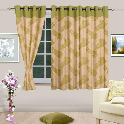 Cortina Polyester Green Printed Eyelet Window Curtain