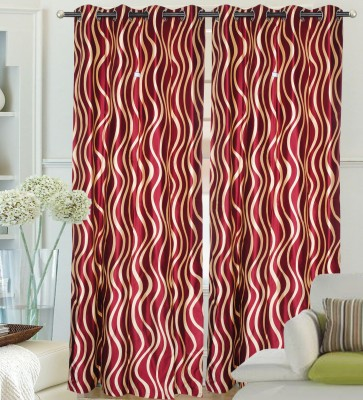 Hargunz Polyester Red Floral Eyelet Door Curtain