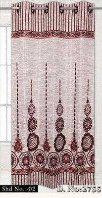 Duster Panel Polyester Maroon And Cream Motif Eyelet Door Curtain