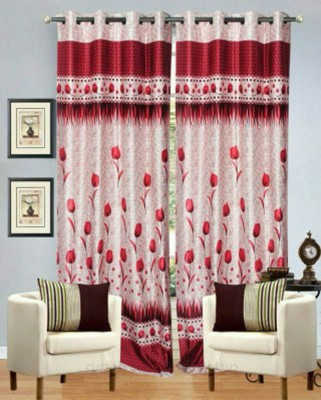 Fresh From Loom Polyester Red Floral Curtain Long Door Curtain