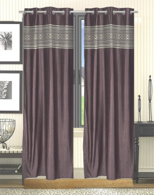 Trendy Home Jacquard Brown Solid Eyelet Door Curtain