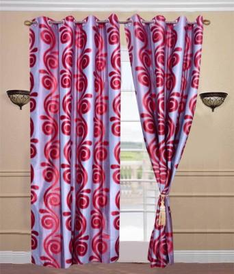 JTInternational Polyester Maroon Abstract Eyelet Door Curtain