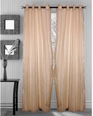 Handloomhub Polyester Cream Solid Eyelet Door Curtain