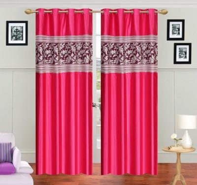 JH Polyester Pink Self Design Curtain Door Curtain